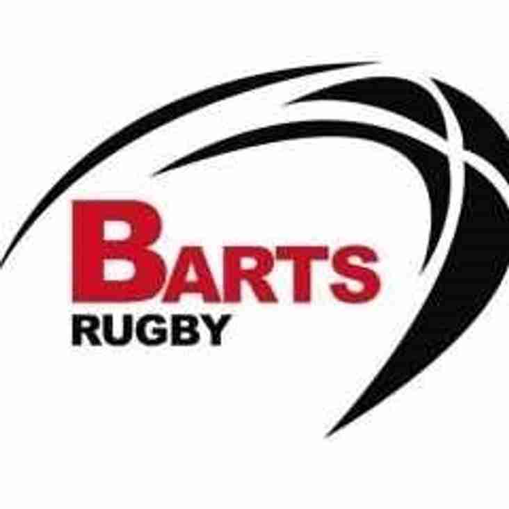 SAT 30th APRIL - 1sts AWAY to BARTS RUGBY IN FINAL LEAGUE MATCH OF THE SEASON