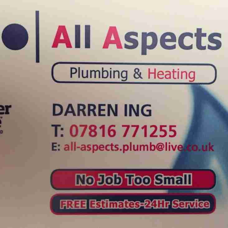 SPONSOR: All Aspects Plumbing and Heating to sponsor Congleton Town game this Saturday