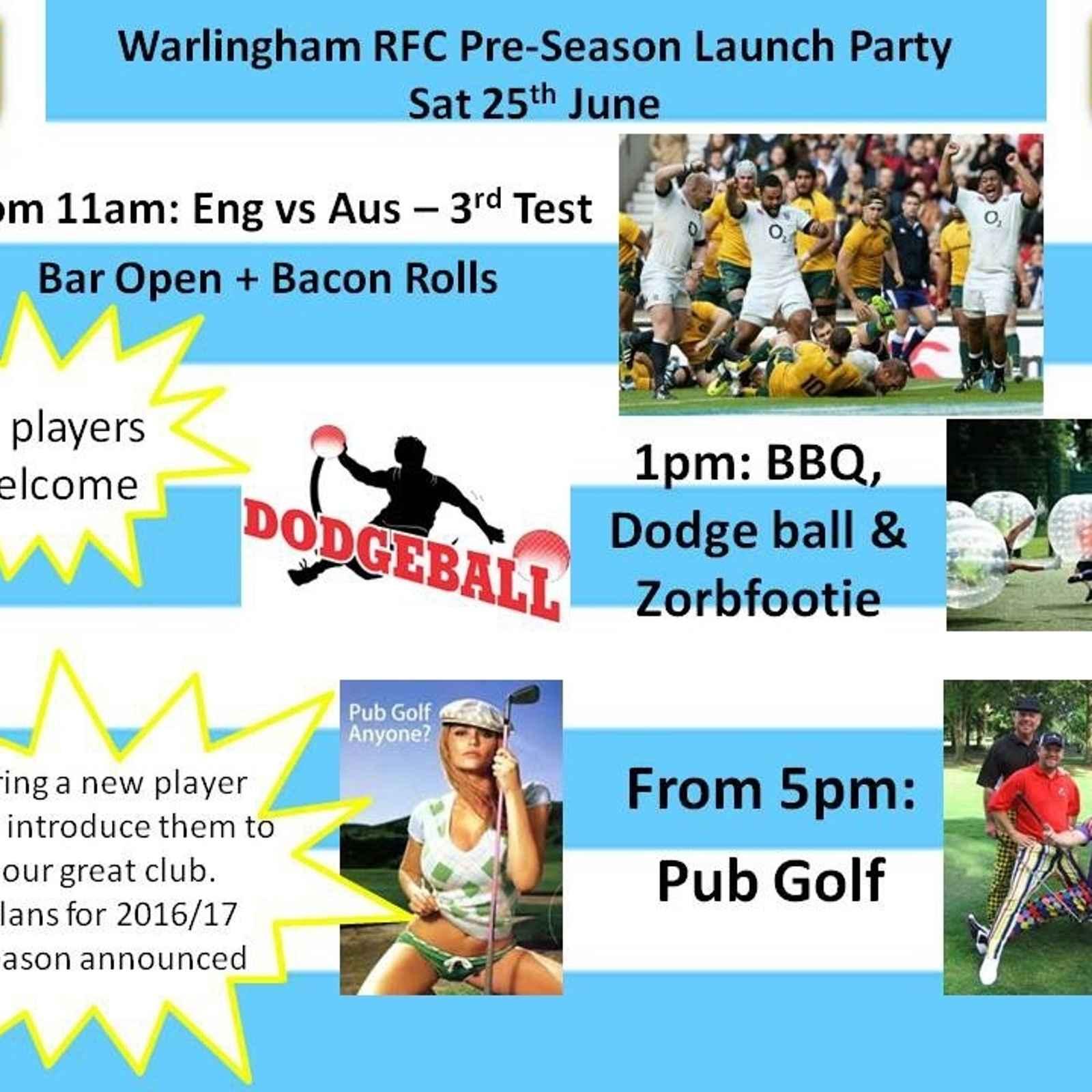 WRFC Pre-Season Launch Party Saturday 25th June