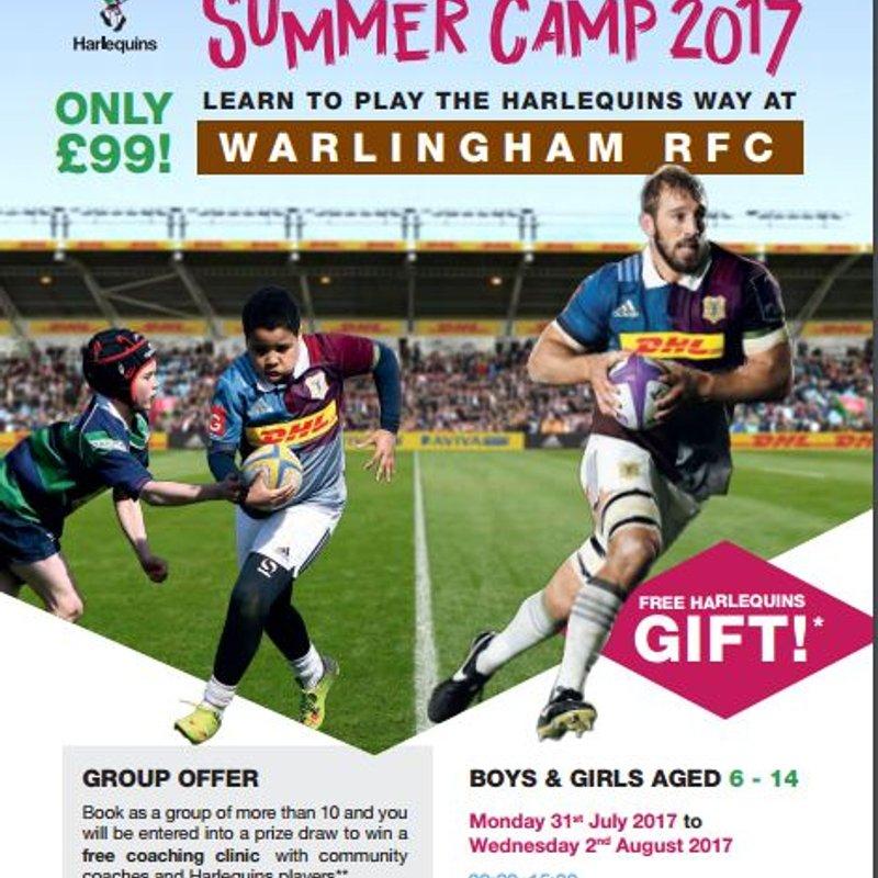 Harlequins Summer Camp 2017 - Warlingham RFC