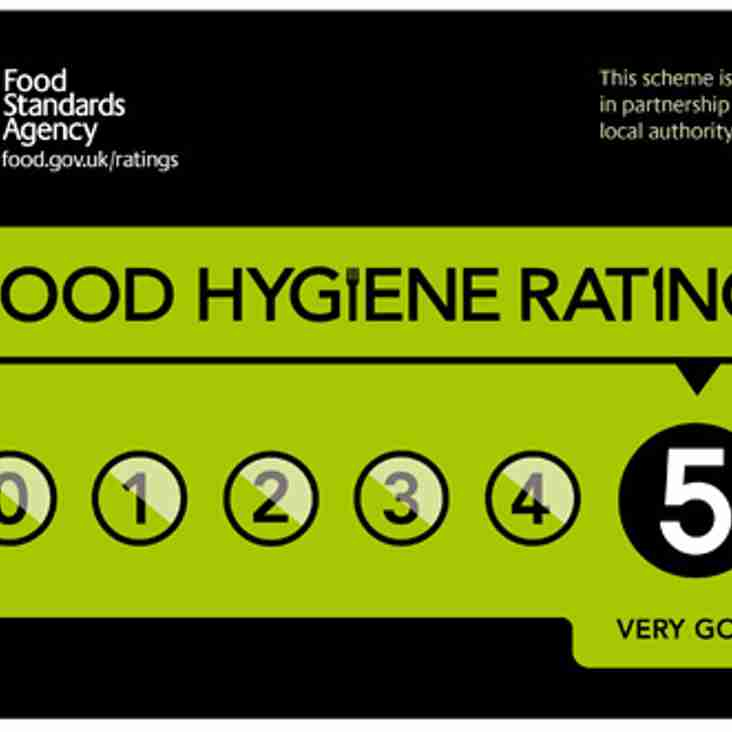 Eastbourne Rugby Catering Manger received top rating in Hygiene