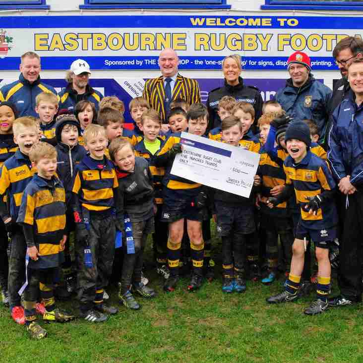 Eastbourne Rugby Minis benefit from the Police Property Act Fund