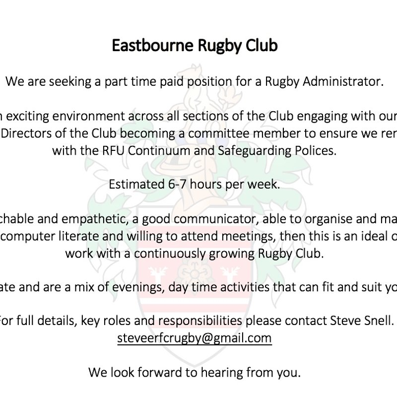 Eastbourne Rugby are advertising for a Rugby Administrator