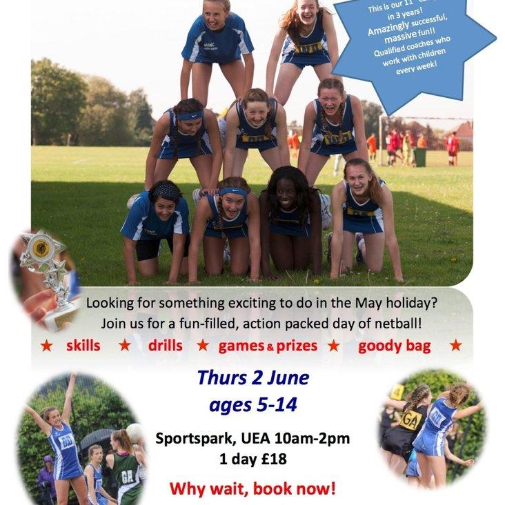 May holiday netball camp coming your way!<