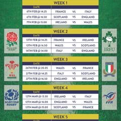 SIx Nations Fixtures 2016