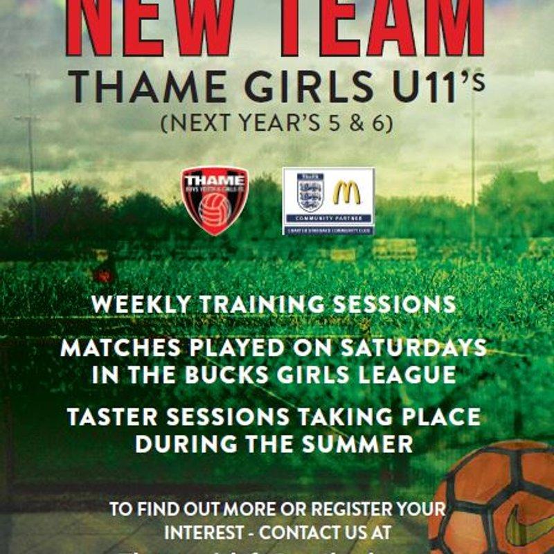 New Thame U11's Girls team..
