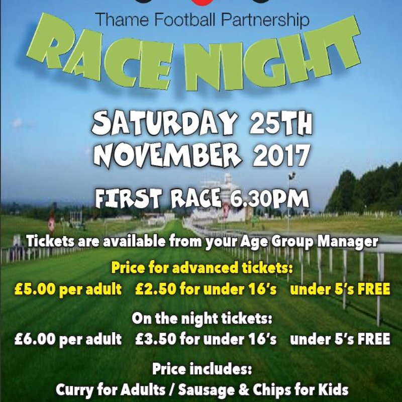 TFP Race Night Event - Sat 25th Nov 2017