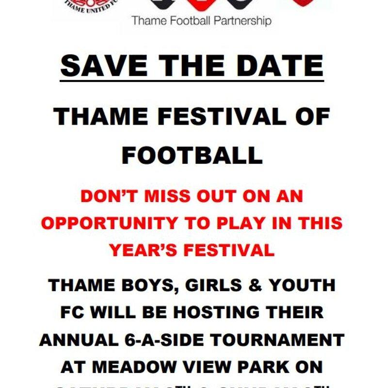 Festival of Football Tournament - Saturday 8th June & Sunday 9th June 2019