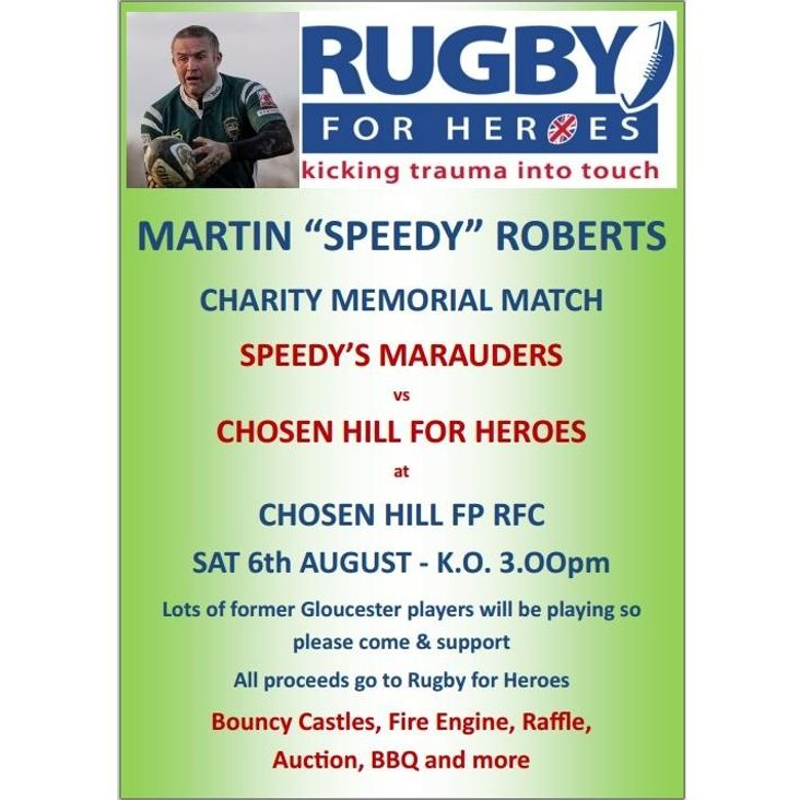 SPEEDY ROBERTS MEMORIAL MATCH - SAT 6th AUGUST- KO 3.00pm<