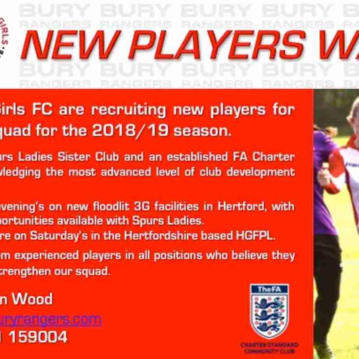 New Players Wanted - 2018/19 U17 Girls