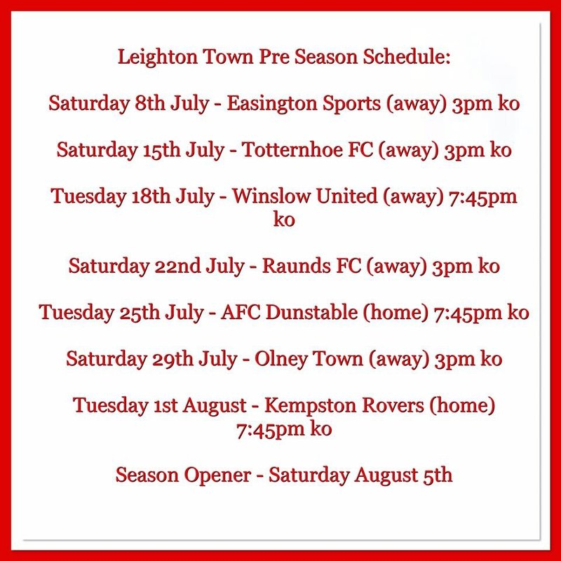 Pre-Season Friendlies Announced