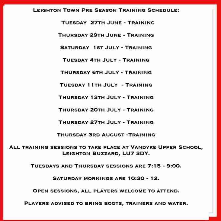 Pre-Season Training Schedule