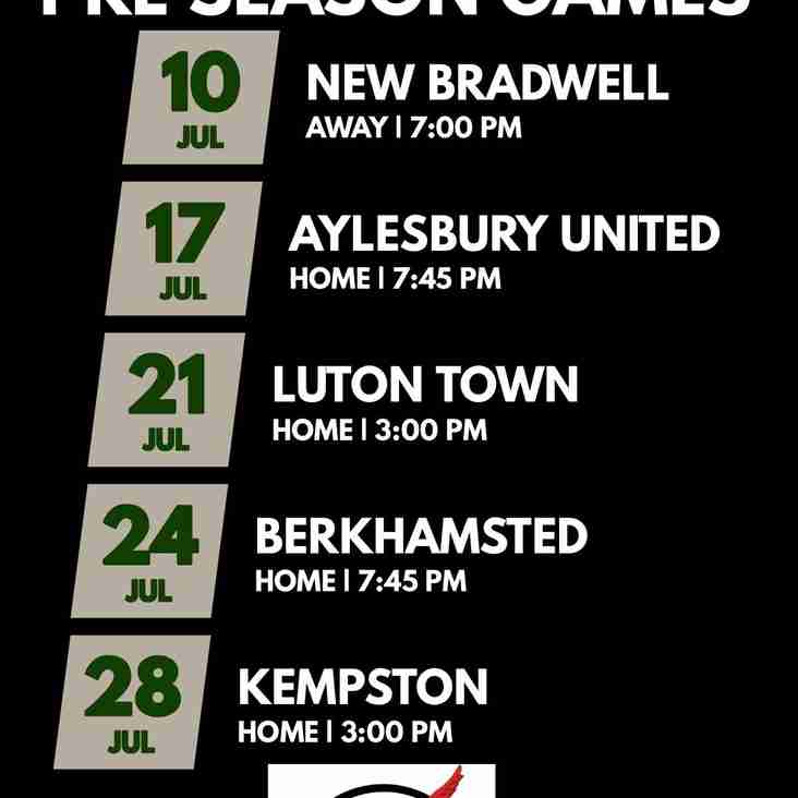 First Team Pre-Season Games Announced