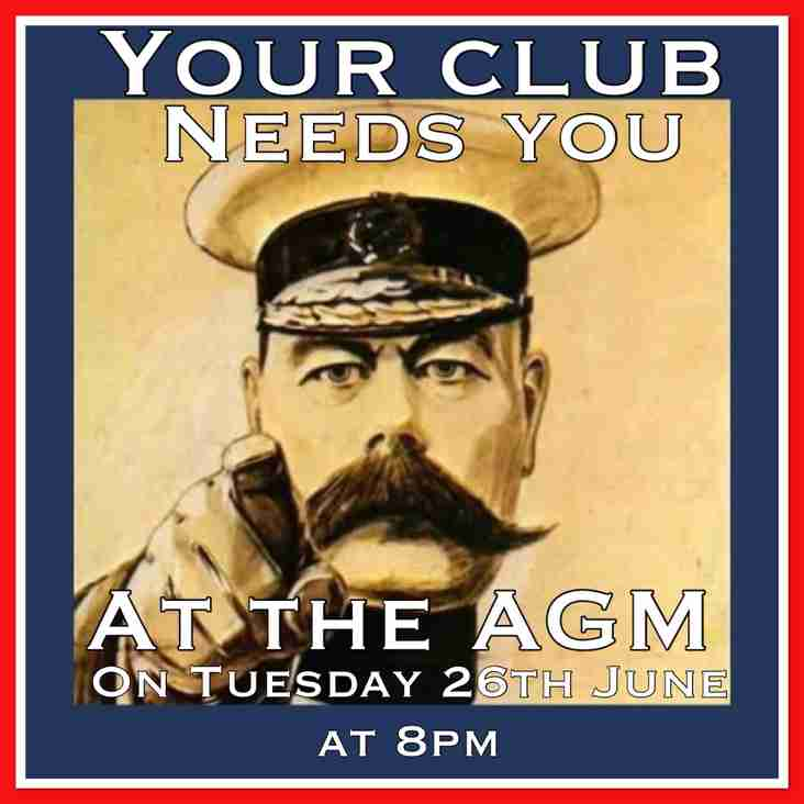 AGM Tuesday 26th June 8pm