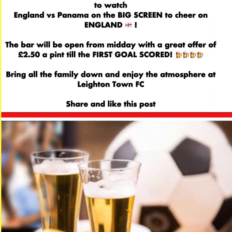Sunday 24th Watch England On The New Big Screen at Bell Close - Special Offer On Drinks