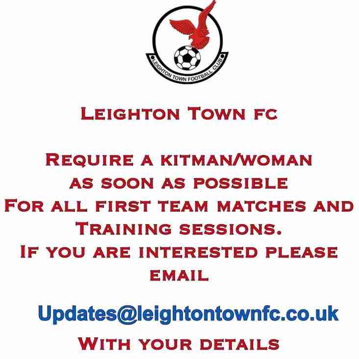 FIRST TEAM KIT PERSON REQUIRED