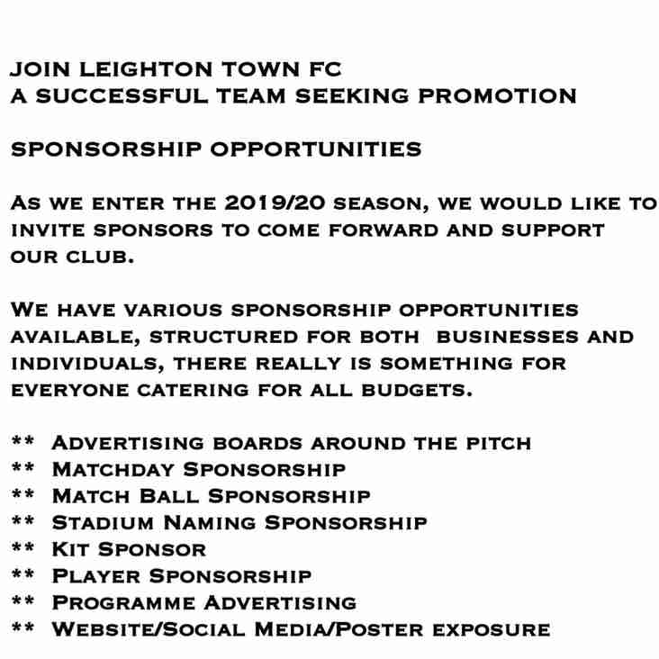 Sponsorship Opportunities 2019/20 Season