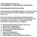 Sponsorship Opportunities 2019/20 Season