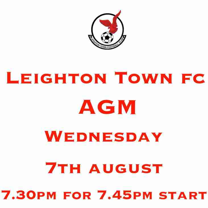 AGM Wednesday 7th August