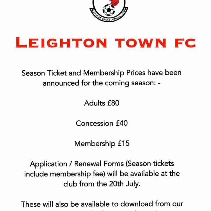 Season / Membership Ticket Information 2019/20 Season