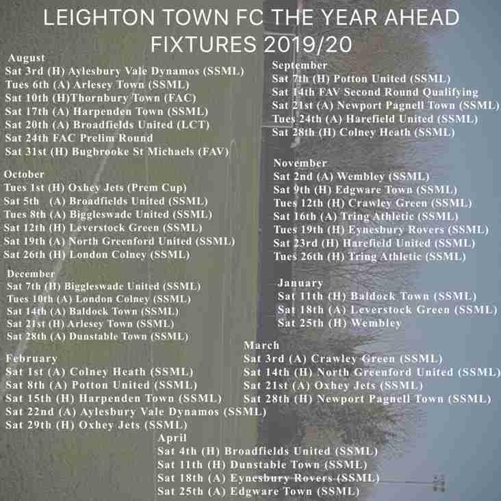 First Team League Fixtures Announced