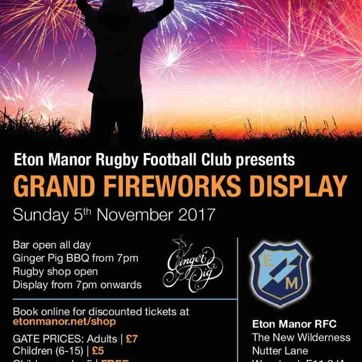 Fireworks Night tickets on sale now