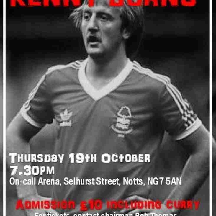 Kenny Burns Speakers Night 19 October