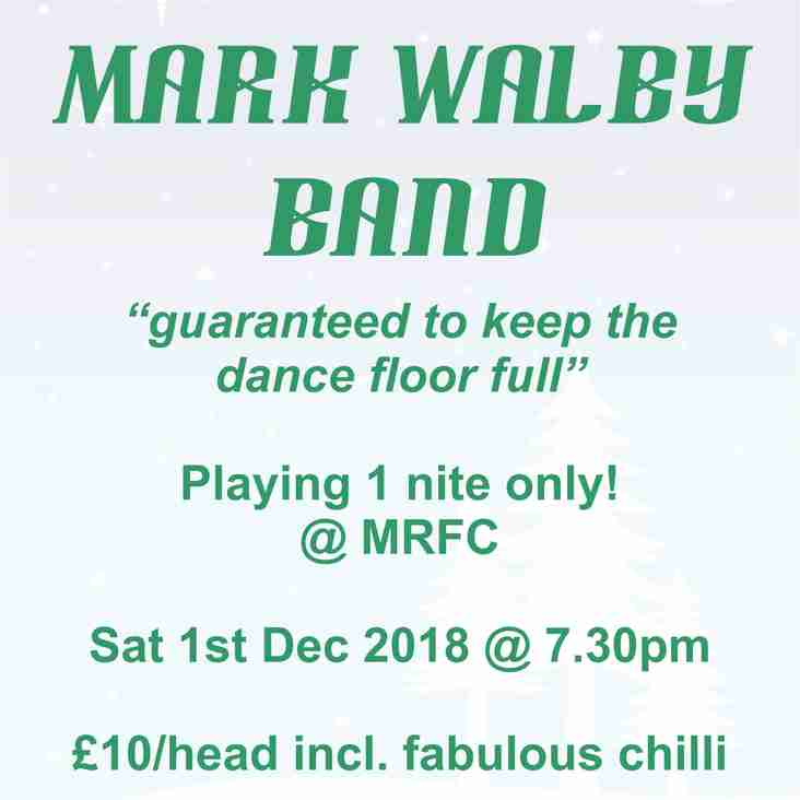 December Whole Club Social  - The Mark Walby Band Sat 1st Dec 2018