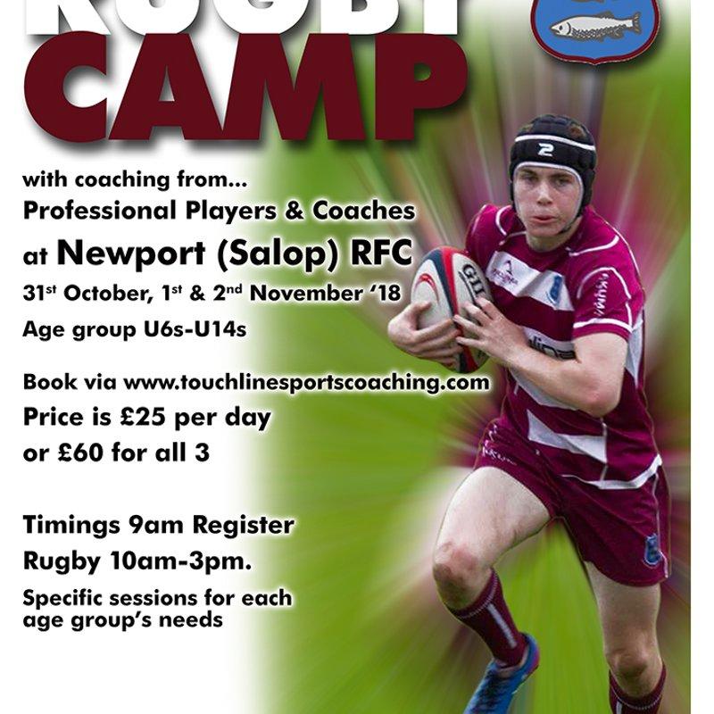 Fund raiser....Half Term Rugby Camp 31st Oct - 2nd Nov