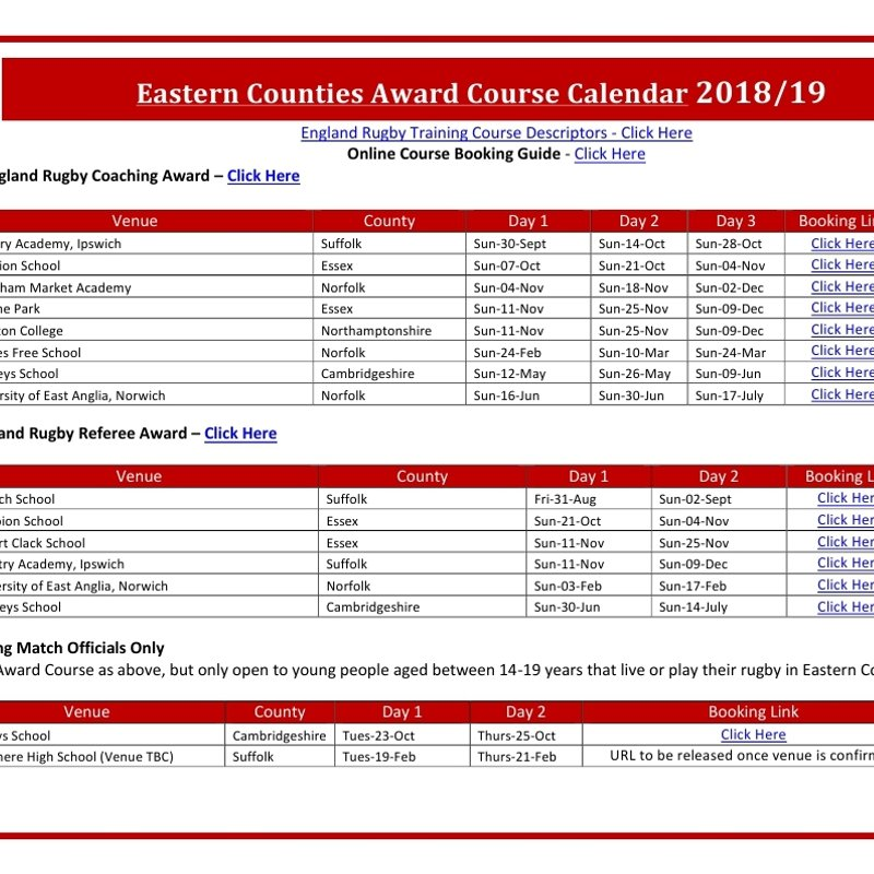 Eastern Counties Award Course Calender