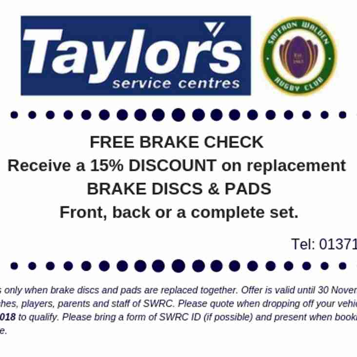An Offer from our club sponsor Taylors