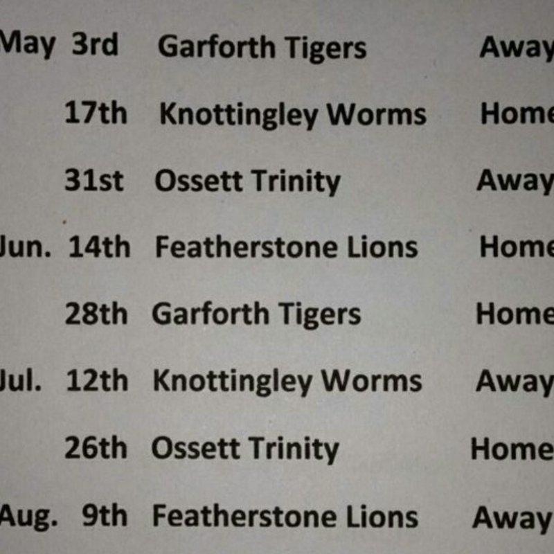 Interim League fixture list for Kippax Knights A (second team)