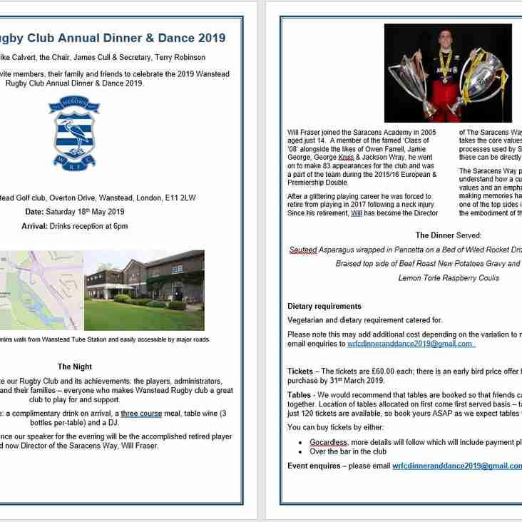 Wanstead RFC Dinner & Dance 2019