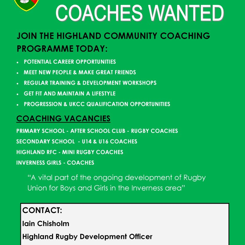 Get Involved in Coaching with the Highland Community Coaching Programme