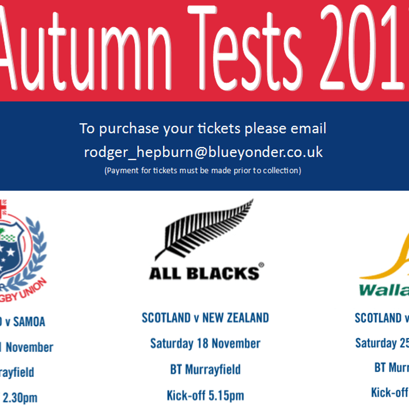 Autumn Tests 2017