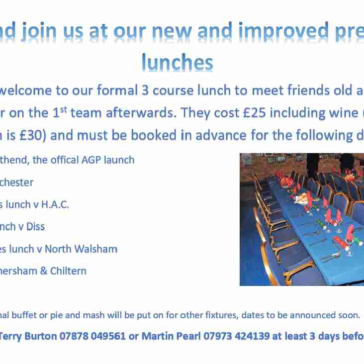 Manor re-launch pre-match lunches