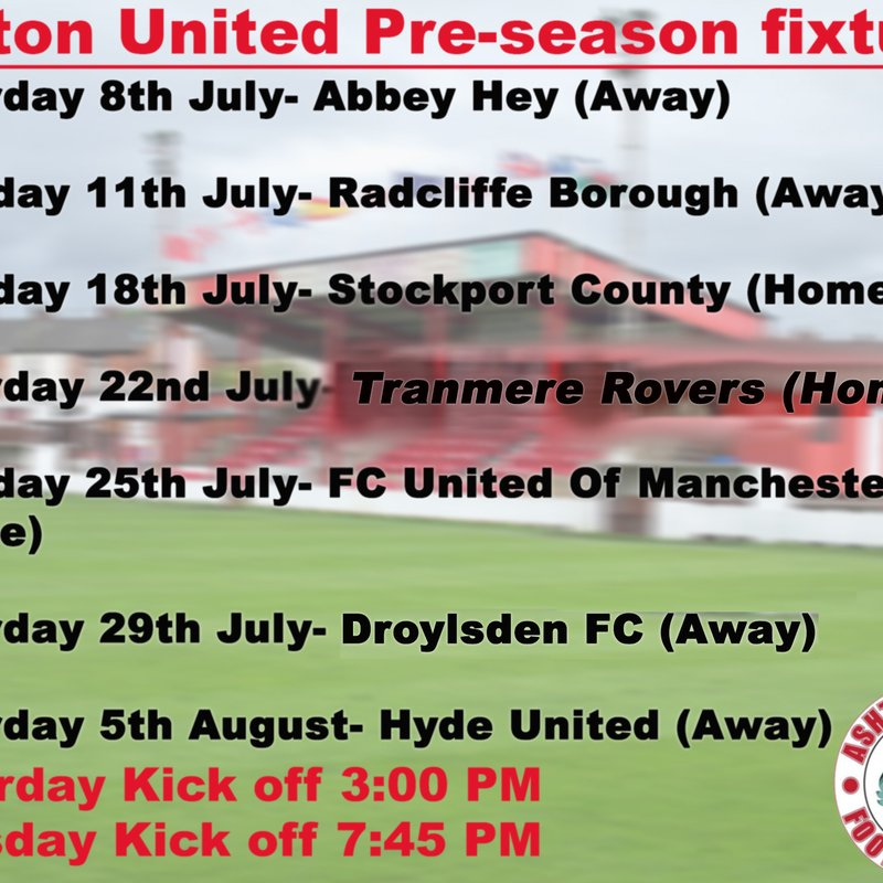 Ashton United pre-season fixtures update
