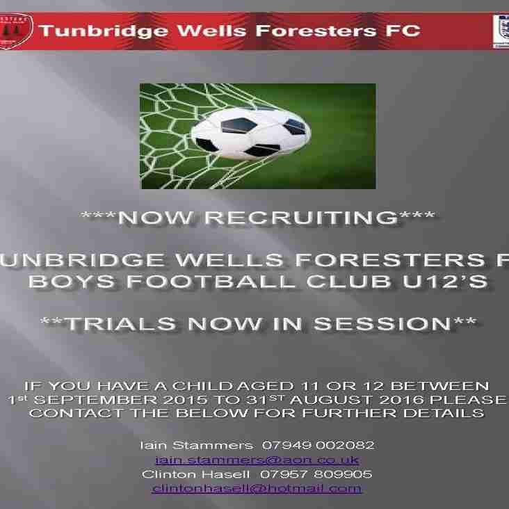 U12's PLAYERS WANTED (school year 7) 2015/16 Season