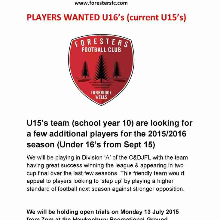 Under 16's (season 2015/16) final trial dates