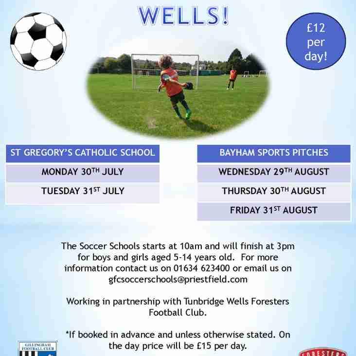 Gillingham Summer Soccer School dates - July & August 2018