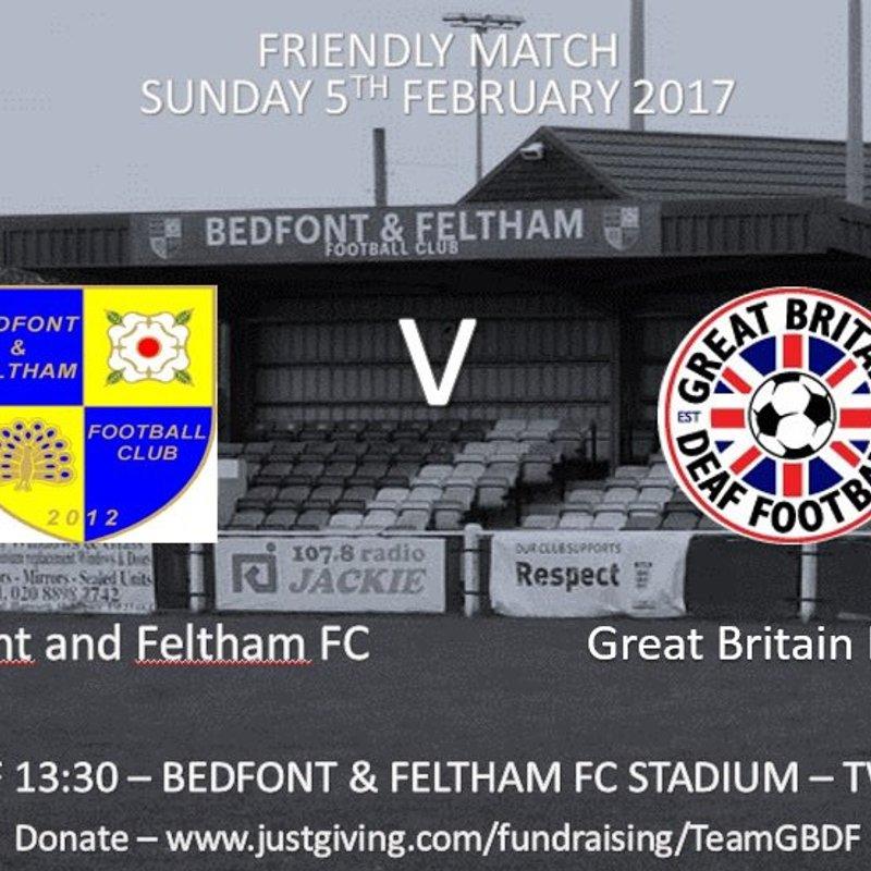 Bedfont & Feltham V Great Britain Deaf Football Team