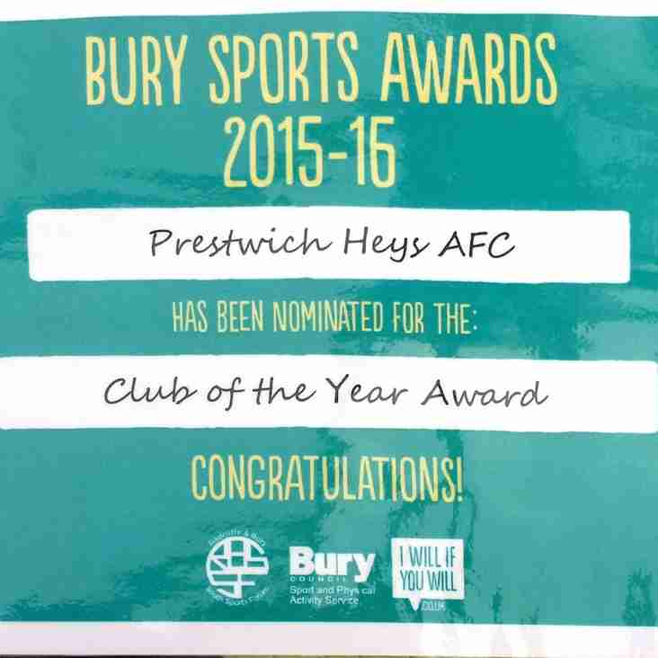 Heys nominated for Club of the Year Award  in Bury Sports Awards
