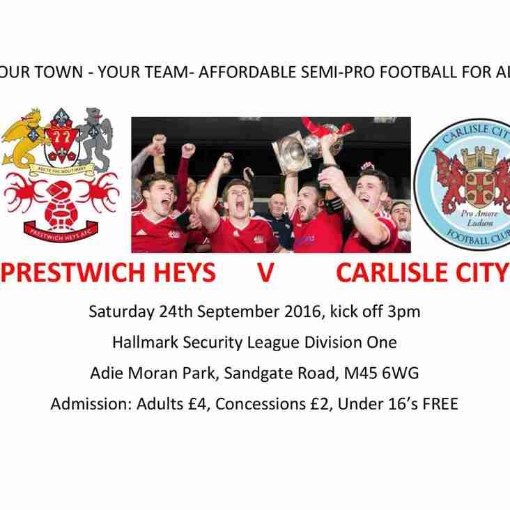 Weekend preview : Heys welcome Carlisle City