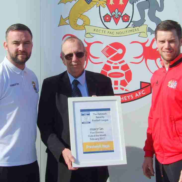 Heys receive Club of the Month Award