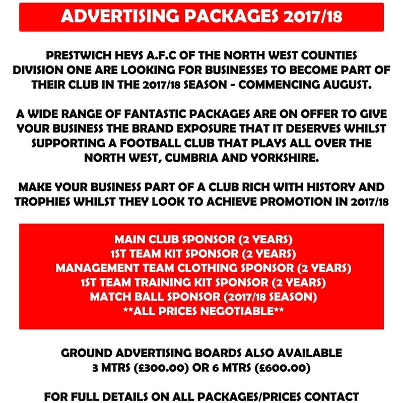 Sponsorship packages available for 2017-18