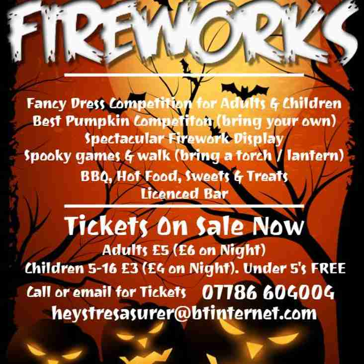 Five Days to go to Heys Halloween Fireworks -  it's this Friday night