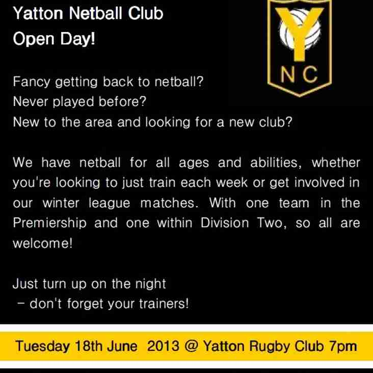 Yatton Netball Club - Open Day!