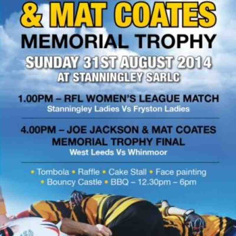 Joe Jackson & Mat Coates memorial trophy 31st August 2014