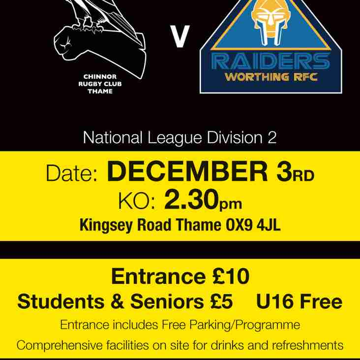 Chinnor welcome Worthing this Saturday