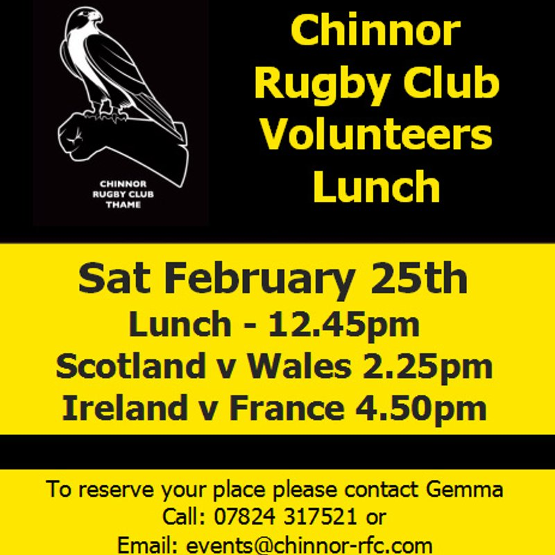 Volunteers Lunch Saturday 25th February
